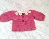 0-3 month Baby Sweater Crochet with Petals Photography Prop Girl etsy