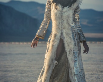 Sequin Faux Fur Coat  (Multiple Colors)- Fabulous Burning Man Festival Coat