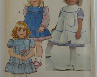 Toddler Girls Pinafore and Dress Sizes 1 2 3 4 UNCUT Butterick Pattern 4830 Vintage 1980's