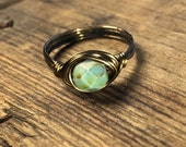 size 7.5 , 7 1/2 - mint green brown faceted glass antique brass gold wire wrapped ring - women teen girl handmade formal fancy jewelry