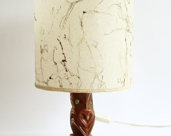 Tiki Lounge Lamp, Hand Carved, New Zealand Maori, Paua Shell Eyes, 1950s - 60s, Kitsch Lighting, Tiki Bar Decor, Original Light Shade,