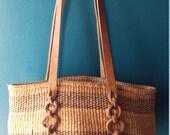 Vintage 1980s Boho Market Tote Basket Bag
