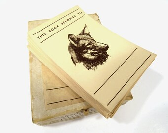 60 Vintage German Shepherd Bookplate Labels, This Book Belongs to, 1950s Unused Labels