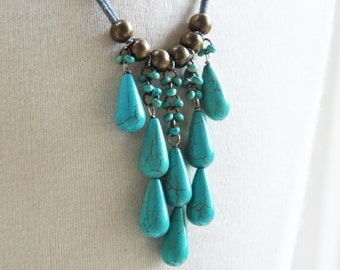 single layer turquoise teardrops and gray necklace
