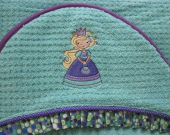 NEW Princess towel girl hooded towel bath wrap personalized