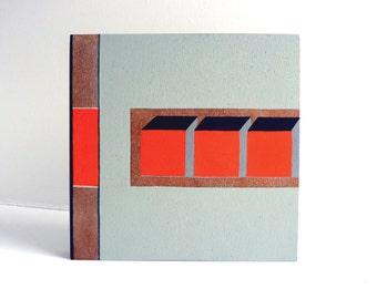 Modern wall art painting, architectural art on wood block, geometric, minimal art, small painting