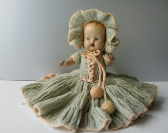 Vintage Composition Doll Drinks Wets Toy Baby Doll Dress Bonnet Hat Jointed Molded Hair Blue Eyes Display Collection Nursery Home Decor