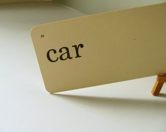 Vintage Flash Card car Dick Jane Flashcard Toy Cars Cadillac Chevy Ford Truck Steering Wheel Garage Man Boy Baby Gift Word Card Home Decor