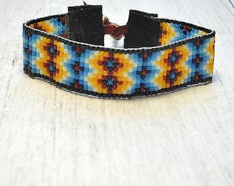 Indian Beaded Bracelet  - Southwestern Jewelry - Adjustable Bracelet - Womens Bracelet - Beaded Bracelet - Seed Bead Bracelet
