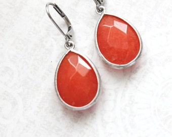Burnt Orange Earrings Pumpkin Glass Drop Earrings Autumn Jewelry Dangle Earrings Modern Teardrop Silver Everyday Nickel Free Lever back