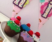 Felt Cupcake & Sprinkles (Your Color Choice) -  Party Decorations, Play Food, Favors, Centerpiece, Kids Room, Home Decor, Birthdays