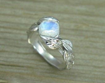 Leaf Ring With Moonstone, White Gold Moonstone Leaf Ring, Leaves Ring With Moonstone, Moonstone Forest Ring, Natural Floral Moonstone Ring