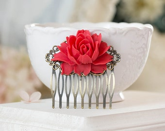 Red Bridal Hair Comb, Red Bridal Hair Comb, Red Rose Flower Filigree Comb. Bridesmaids Gift, Red Wedding Hair Accessory, Vintage Style Comb