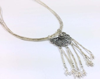 Sterling Silver & Thai Liquid Silver Three Strand Fringe Necklace - One of a Kind Handmade 1026