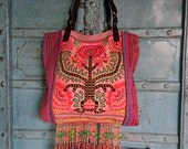 Vintage Hmong Fabric Tribal shoulder bag Hand embroidery Birds and flowers Ethnic Fahsion
