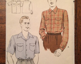 9104 1950's Men's Sport Shirt Chest 34 Vogue 9104 Vintage Sewing Pattern