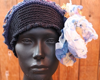 Black & Ocre Colorful Crochet Hat with Two Beautiful Hand Made Organza Flowers...