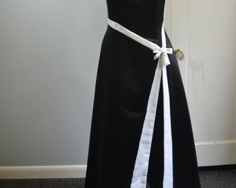 Vintage Black and White Strapless 90's Formal Gunne Sax Dress - M