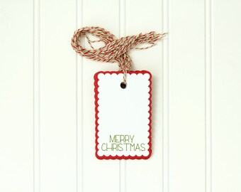 """10 Die Cut Layered Scallop """"Merry Christmas"""" Holiday Gift Tags (4 x 2.5 inches) in Red and White Cardstock with Holiday Baker's Twine"""