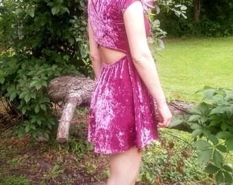 Blush Pink Velvet Dress