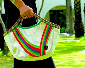 "Kimono Obi  Hobo Style Tote ""White Rainbow"" (S) / Small size tote / mom bag"