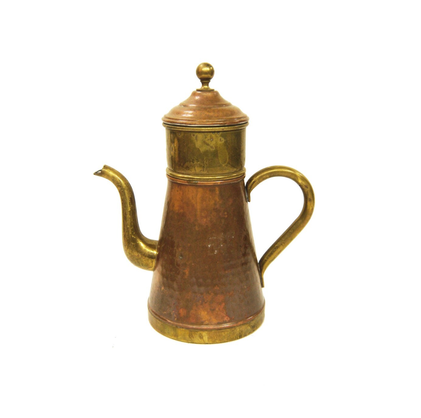 Antique Percolator Coffee Maker : Vintage Copper and Brass Coffee Pot Coffee Maker Percolator