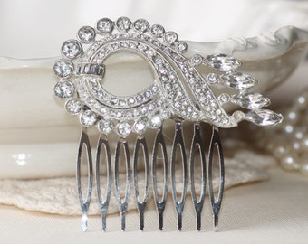 Authentic 1920s Fur Clip Hair Comb or PAIR,Paved Rhinestone Pot Meal Fur Clip,Large Fur Clip to OOAK Bridal Hair Comb,Something Old,Flapper