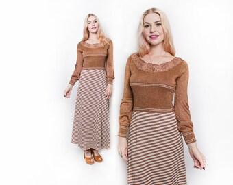 Vintage 1970s Dress - Copper Metallic Striped Knit Disco Maxi Dress 70 Wenjilli - Small / Medium