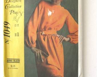 1960s Dress Pattern or Top and Skirt Pattern McCalls N1049 Womens Anne Klein New York Designers Collection Size 12 Bust 34