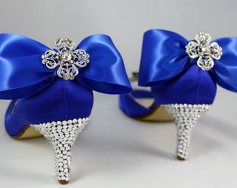 "Bright blue Swarovski crystal heels 1.75"" or  2.5"" heel- The Starlight - Wide shoes available"