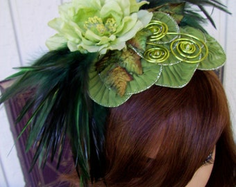 Fascinator (F602) Royal Ascot, Derby Races Hat, Green, Feathers, Silk Flowers and Ivy, Apple Green Coils, Swarovski Crystals
