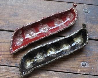 Handmade peapod stoneware ceramic pottery shallow tapas appetizer sushi dishes