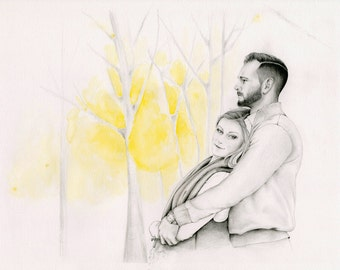 Couples Portrait Custom Couples Portraits Gift for Couples Hand Drawn Portrait from your Photo Personalized Gift Couple Pencil Portrait