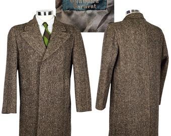 42 Short Ultra Thick Tweed Peak Lapel Dandy Overcoat