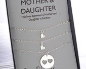 Mom Daughter Jewelry Set. Mom Birthday Gift. Mommy and Me. Sisters Jewelry. Inspirational Mom Gift. Push Present. Love Jewelry. Silver