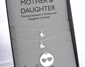 Mom Daughter Necklace Mother Daughter Jewelry Set Mother of the Bride Mom Birthday Gift Sisters Jewelry Mom Necklace Gift for Wife Birthday