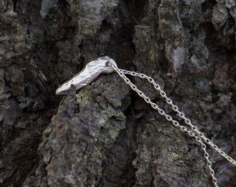 Driftwood Fragment Necklace Sterling Silver, Unique Gift for Women, Rustic Handmade Jewelry by Burnish