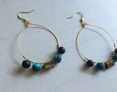 Blue Rose Hoop Earrings