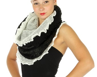 Double Layered Infinity Scarf, Two Scarves in One, Black & White Knitted Infinity Scarf, Reversible Scarf, Snood, Cowl, Womens Scarves, Boho