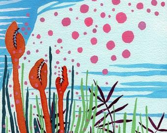 Fantasy Painting. Abstract landscape painting. Original wall art. Original Illustration. Gouache painting. Original painting