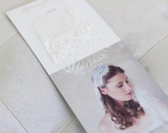 Light Ivory English Netting with Eyelash Lace Veil Sample, Lace Swatch, Netting Swatch