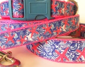 She She Shells Lilly Pulitzer Inspired Adjustable Dog Collar / Lilly Pulitzer Inspired SSS Pet Leash