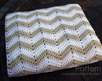 Bed Topper Crochet PATTERN - Chevron Sand Afghan Blanket (4 Sizes + multiple) - Printable Download PDF 7250