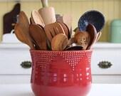Jumbo Size Kitchen Utensil Holder - 16 Colors - Green, Blue, White, Red - Hand Thrown Flower Planter - Modern Home Decor - MADE TO ORDER