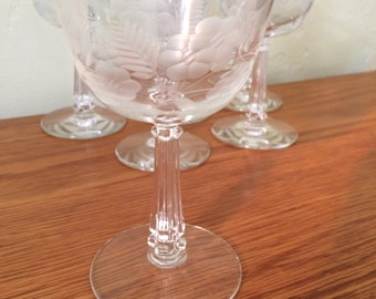 Vintage Etched Floral Cordial Glasses Set of 6 Column Stem Aperitif Liqueur Sherry Mid Century Flower Floral Stemware Barware Shot Glasses