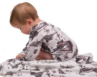 Organic Baby Blanket , Nautical  Bedding , Organic Swaddle Blanket , Stroller Blanket , Baby Boy Blanket , Summer Blanket , Nautical Nursery