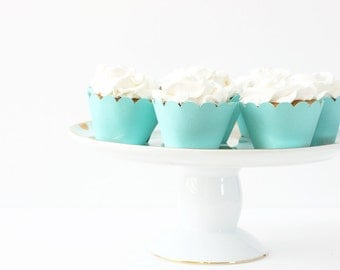 Turquoise Cupcake Wrappers Robins Egg Blue Cupcake Liners Turquoise Party Supplies Aqua Blue and White Wedding Cupcakes Baby Shower Cupcakes