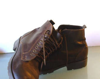Chocolate Leather Granny  Boots  Size 4.5US