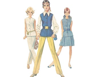 1960s Skirt, Slacks, Blouse & Vest, Sleeveless Blouse Bust 34 Simplicity 8045 Vintage Coordinates Sewing Pattern