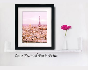 Pink Paris Photography Framed GIft Idea, Pink Gold, Whimsical Paris Wall Art Pink,  Eiffel Tower Photography, Romantic Paris Wall Art Decor